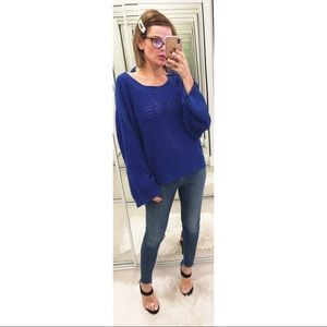 Anthropologie Moth Reese Kimono Pullover Blue